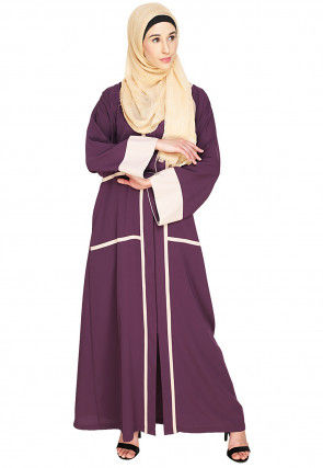 Contrast Trimming Nida Front Open Dubai Style Abaya in Purple