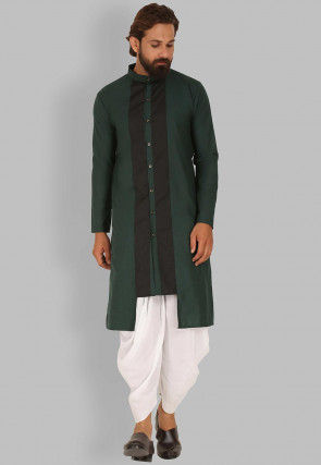 Contrast Trims Cotton Dhoti Kurta in Dark Green