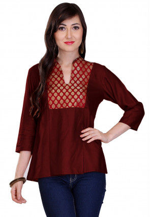 Contrast Yoke Cotton Silk Top in Maroon