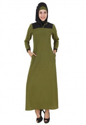 Contrast Yoke Crepe Abaya in Olive Green