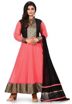 Contrast Yoke Polyester Abaya Style Suit in Peach and Black