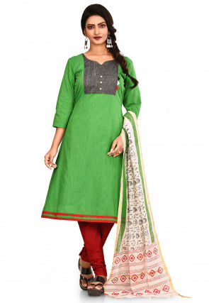 Contrast Yoke South Cotton Straight Suit in Green
