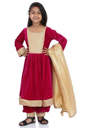 Contrast Yoke Velvet Anarkali Suit in Fuchsia