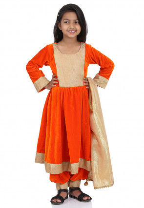 Contrast Yoke Velvet Anarkali Suit in Orange