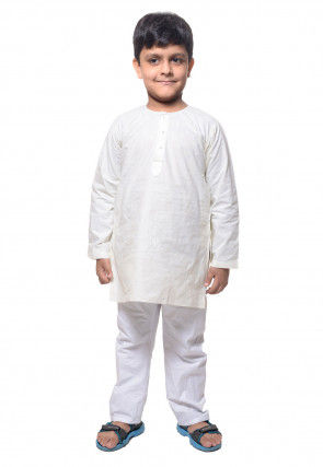 Cotton Kurta Pyjama in white