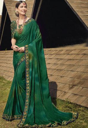 Crepe Crepe Saree in Teal Green