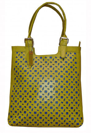 Cut Work Leather Hand Bag in Light Green