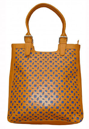 Cut Work Leather Hand Bag in Mustard