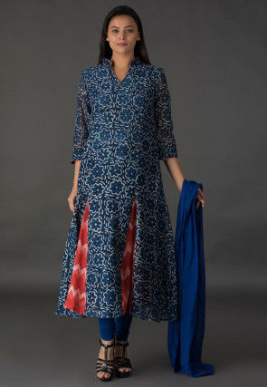 Dabu Printed Chanderi Cotton A Line Suit in Indigo Blue