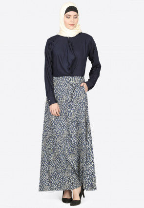 Dabu Printed Cotton A Line Abaya in Indigo Blue