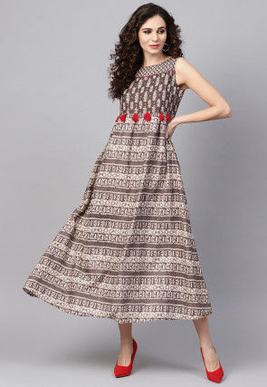Dabu Printed Cotton A Line Dress in Brown