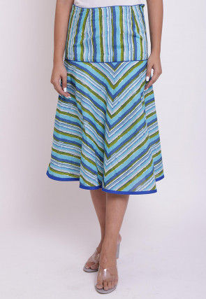 Dabu Printed Cotton A Line Skirt in Multicolor