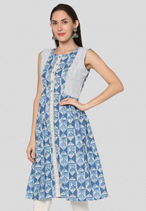 Dabu Printed Cotton A Line Tunic in Light Blue