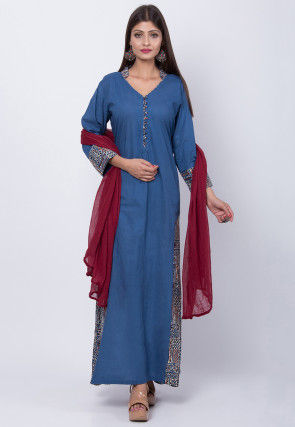 Dabu Printed Cotton Abaya Style Suit in Blue