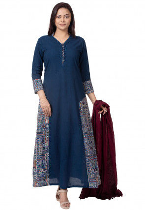Dabu Printed Cotton Abaya Style Suit in Navy Blue