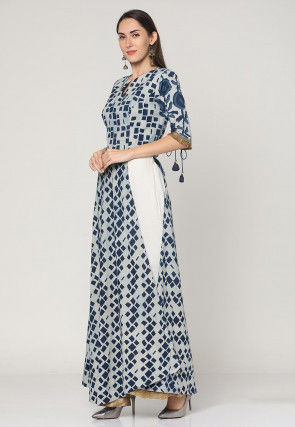 Dabu Printed Cotton Abaya Style Suit in White and Blue