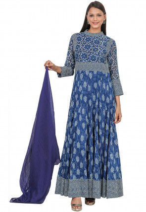 Dabu Printed Cotton Anarkali Suit in Indigo Blue
