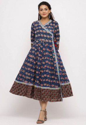 Dabu Printed Cotton Angrakha Style Kurta in Blue