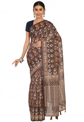 Dabu Printed Cotton Chanderi Saree in Dark Brown