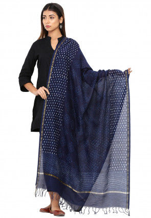 Dabu Printed Cotton Dupatta in Dark Blue