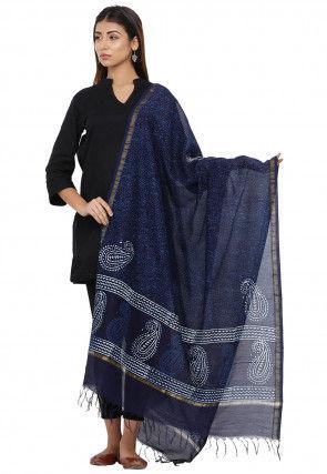 Dabu Printed Cotton Dupatta in Dark Blue