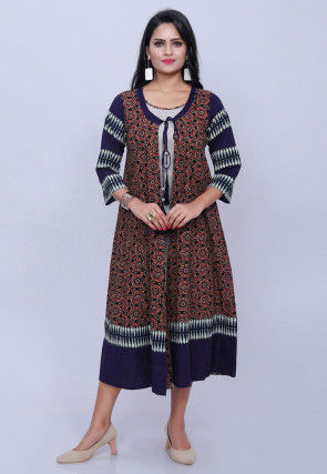 Dabu Printed Cotton Jacket Style Kurta in Multicolor