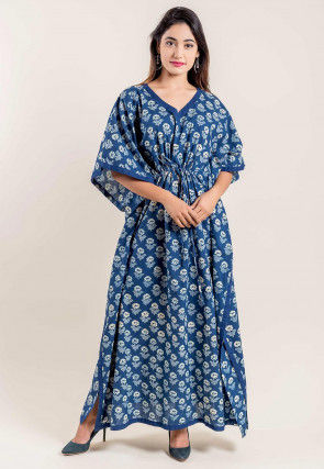 Dabu Printed Cotton Kaftan in Indigo Blue