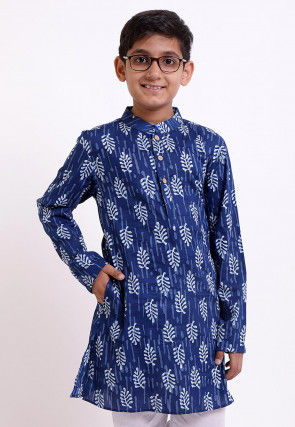 Dabu Printed Cotton Kurta in Indigo Blue
