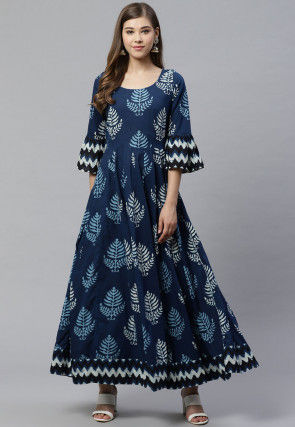 Dabu Printed Cotton Kurta in Navy Blue