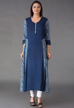 Dabu Printed Cotton Kurta in Navy Blue