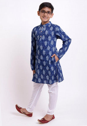 Dabu Printed Cotton Kurta Set in Indigo Blue