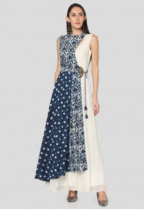 Dabu Printed Cotton Layered Maxi Dress in Blue and Off White