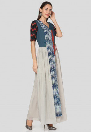 Dabu Printed Cotton Maxi Dress in Off White