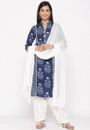 Dabu Printed Cotton Punjabi Suit in Navy Blue