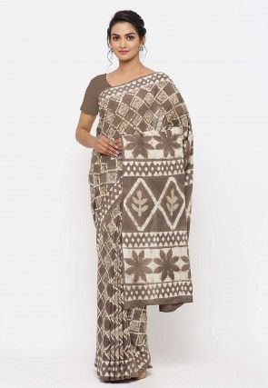Dabu Printed Cotton Saree in Fawn