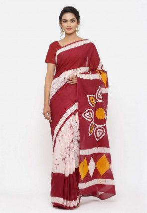 Dabu Printed Cotton Saree in Off White and Maroon