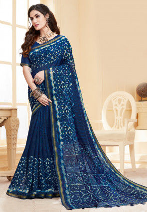 Dabu Printed Cotton Silk Saree in Navy Blue