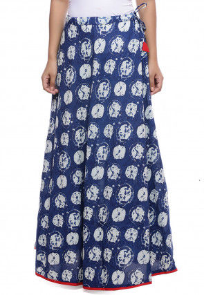 Dabu Printed Cotton Skirt in Indigo Blue