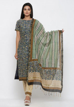 Dabu Printed Pure Chanderi Cotton Dupatta in Beige and Multicolor