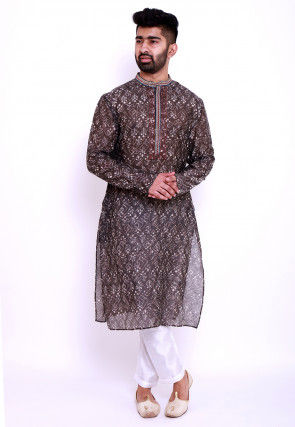 Dabu Printed Pure Chanderi Cotton Kurta in Dark Brown