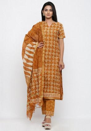 Dabu Printed Pure Chanderi Cotton Pakistani Suit in Mustard