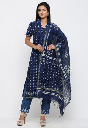Dabu Printed Pure Chanderi Cotton Pakistani Suit in Navy Blue