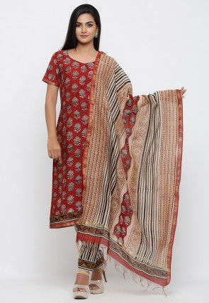 Dabu Printed Pure Chanderi Cotton Pakistani Suit in Red