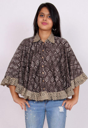 Dabu Printed Pure Chanderi Silk Cape Style Top in Fawn