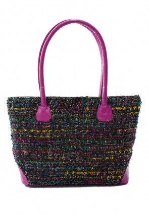 Woven Cotton hand Bag in Multicolor
