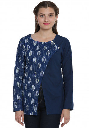 Daub Printed Cotton Angrakha Style Top in Navy Blue