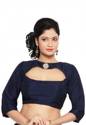 Art Raw Silk Blouse in Navy Blue