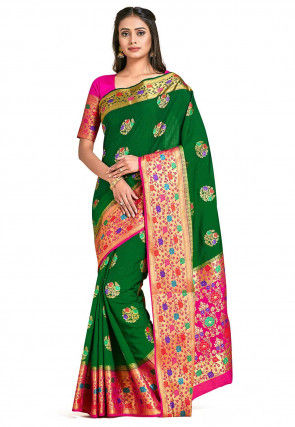 Dharmavaram Saree in Dark Green