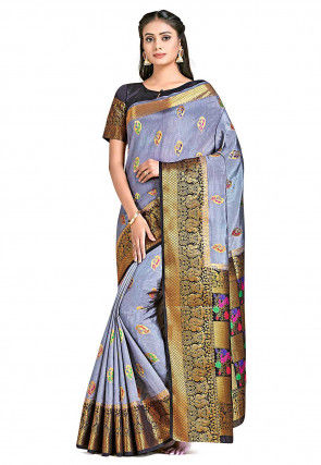 Dharmavaram Saree in Grey