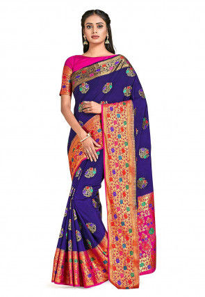 Dharmavaram Saree in Navy Blue